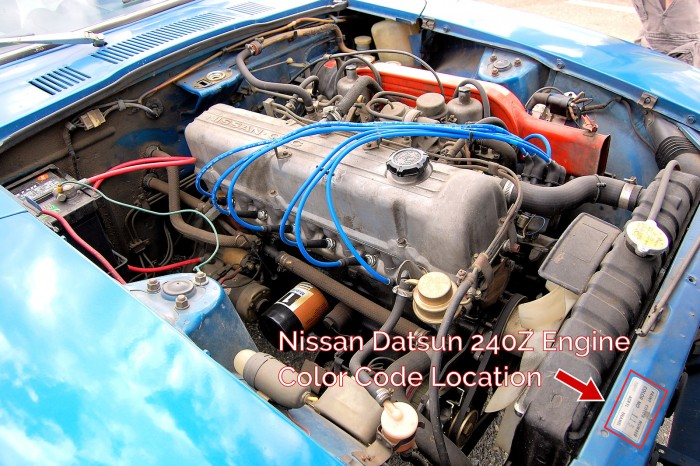 1972 Nissan Datsun 240Z Color Code Sticker Decal in the Engine Area